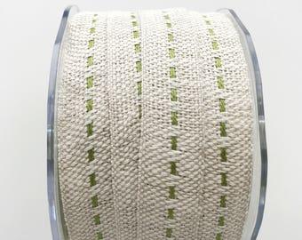 "Burlap Ribbon with Sage Green Center Stitch 5 Yards 5/8"" Wide Jute Ribbon Primitive Ribbon Gift Wrap"