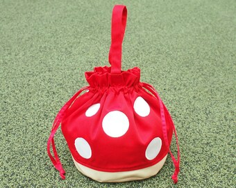 Red Toadstool Bag, Red Mushroom Bag, Drawstring Bag Women, Drawstring Bag Kids, Drawstring Purse, Drawstring Pouch, Twinning Bags Outfits