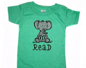 Elephant Read Kids T-shirt, Elephant T-shirt, Reading shirt, Book lover, Baby Elephant, Cute, Free shipping