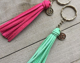 "Initial Keychain, Gift Under 10, Best Friend Gift, Girlfriend Gift  - 3.5"" Small Tassel Choose Your Color- Custom Key Chain, Keyring (ST125)"