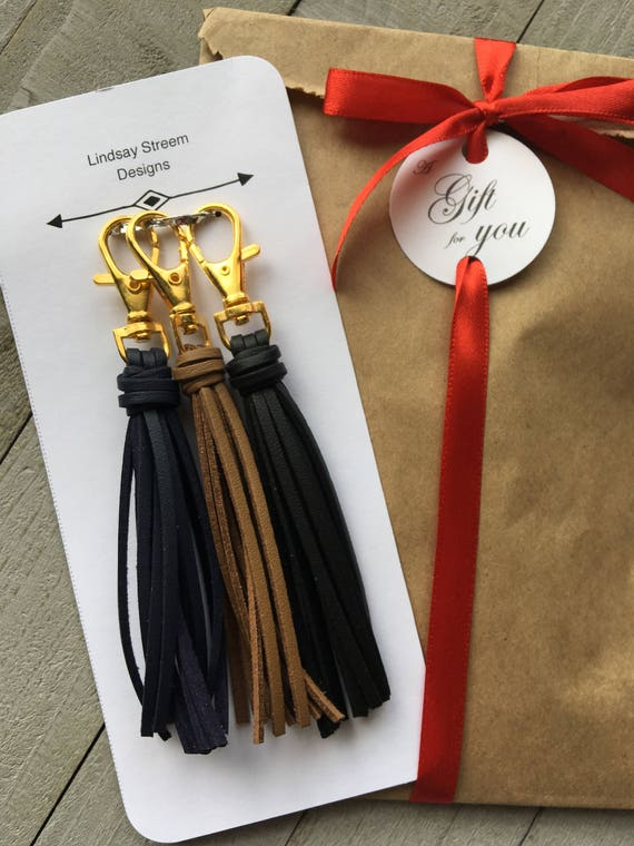 Gift Set - Trio of Mini Tassel Purse Charms - Black Brown Navy - Gift Under 25, Bag Charm, Handbag Tassel, Zipper Pull, Tassel Keychain