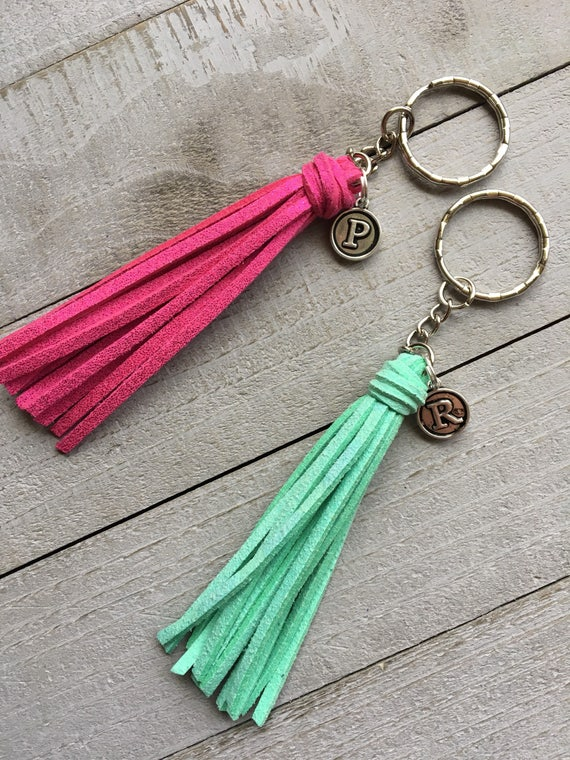 "Initial Keychain,  Personalized Gift Under 10  - 3.5"" Small Tassel Choose Your Color- Custom Key Chain, Best Friend Gift, Keyring (ST125)"