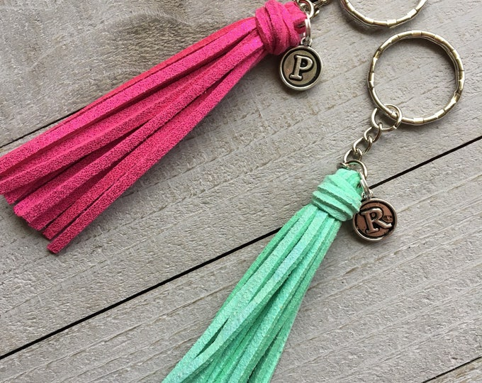 "Featured listing image: Initial Keychain, Gift Under 10, Best Friend Gift, Girlfriend Gift  - 3.5"" Small Tassel Choose Your Color- Custom Key Chain, Keyring (ST125)"