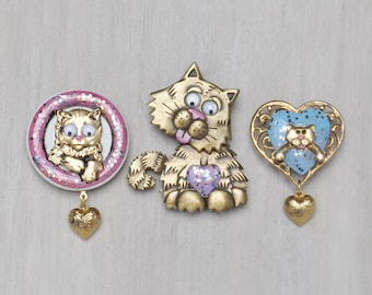 3 I Love Cats Fridge Magnets -  google eyed kitty cats and hearts with sparkly glitter - recycled vintage jewelry parts - cat lady gift idea