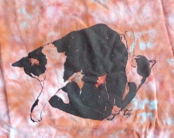 orange tie dye cats cuddling t-shirt men's size S