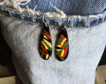 One Love Reggae Inspired Copper Enamel Drop Earrings