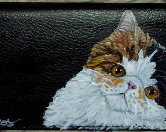 Exotic Shorthair Cat Custom Hand Painted Leather Checkbook Cover Checkbook holder