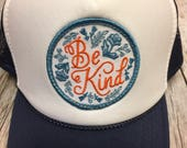 """Youth/Girls Navy and White Trucker Hat- with """"Be K..."""