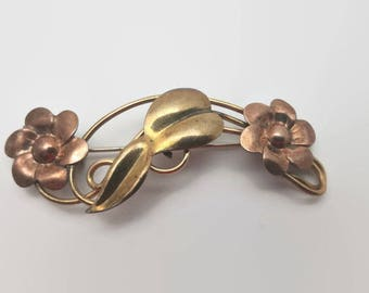 Vintage Gold Filled Floral Pin Signed TK