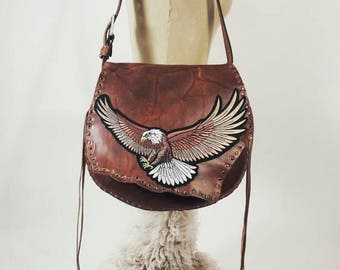Rustic Brown Leather Studded bag with Eagle Applique