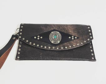 SALE Reclaimed Bomber Leather Clutch