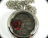CUSTOM ORDER Pocket Watch with Rose Pendant