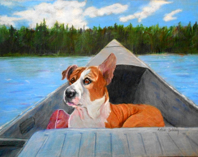 Pet Portrait, Vacation Memories, Pitbull Mix or any breed, Lake Background, Boat Painting, Dog Portrait, Dog Drawing, Pet Drawing,
