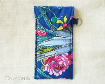 Octopus Lip Gloss Holder - Tall Royal Blue Lip Balm Pouch with Keyring, Tentacles and Pink Roses Insulated Accessory Case for Makeup Tubes
