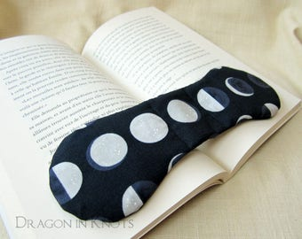 Moon Phases Book Weight - Reader gift, Navy Blue, Gray and White Fabric Textbook Page Holder, Weighted Bookmark, night sky, astronomy