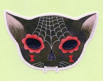 Spiderweb Sugar Skull Sticker