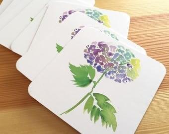 8 Watercolor Floral Coasters - Blue Hydrangea Thick Paper Drink Coasters - Blue Flower Drink Coasters - Decorative Floral Coasters