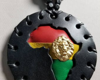 Large Black Rasta Africa Medallion with Brass Lion with Wooden Beads