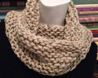 Oatmeal Knit Cowl, Ivory Tweed Knitted Chunky Neck Warmer Scarf