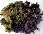 3.5oz Bluefaced Leicester fleece, felting wool, dolls hair, hand dyed fleece, spinning fiber,autumn colours, 100g, 100% wool