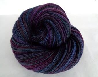 Handspun yarn, hand dyed yarn, polwarth yarn, handpainted yarn, sportweight yarn, blue yarn, purple yarn, CONIMAR,320yds