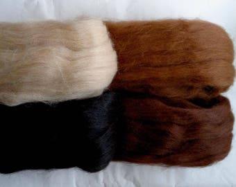 3.5oz, wool roving, alpaca roving, dolls hair, spinning fiber, wool hair, alpaca hair, brown hair, black hair, 100g, 100% Alpaca