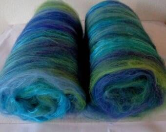 Batts, merino silk batts, felting wool, needle felting wool, nuno, fiber batts, spinning fiber, 21 micron, carded wool, batting, 3.5oz, 100g