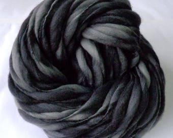 Handspun merino yarn, thick and thin yarn, super bulky yarn, dolls hair, wool dreads, giant knitting, grey, CHIMNEY SWEEPER, 60yds, 3.5oz