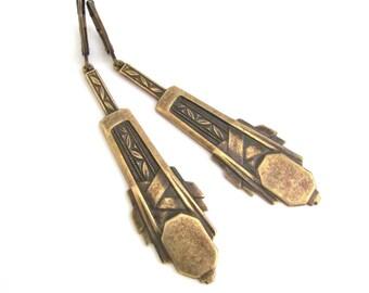 Ornate Art Deco Earrings, Antiqued Gold Brass Earrings, Bridesmaid Gift, Bridal Jewelry, Wedding Jewelry, Hawaiibeads