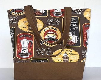 FINAL MARKDOWN Large handbag,  coffee, tote bag, brown tote,  purse,  gift for women, coffee lover,