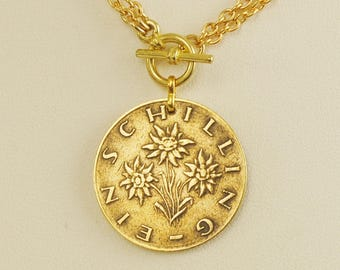 Austria Coin Necklace 1961 Schilling Edelweiss Flowers