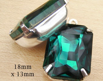 Emerald Green Glass Beads - 18x13 Octagon - Rhinestone Pendant or Earring Jewels - 18mm x 13mm Glass Gems - Set Stones - One Pair