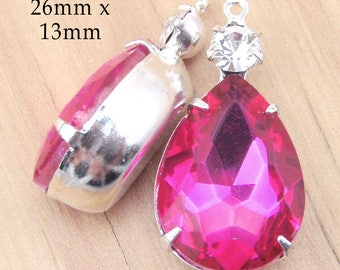 Fuschia Pink Glass Teardrop Beads - Framed Glass Pendant or Earrings - 26mm x 13mm - Hot Pink - 18x13 Pear - Jewelry Supply - One Pair
