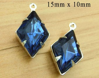 Montana Sapphire Vintage Glass Beads - 15x10 Diamond Shape - Rhinestone Earrings or Pendants - Glass Gems - One Pair