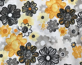 """NEW! """"Totally Totable"""" Weighted Lap Blanket - Adult or Child - Yellow Black Gray Flowers - Choose your weight and minky color"""