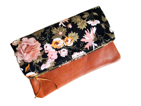 Black Clutch Bag, Fold-Over Leather Clutch, Clutch Purse, Evening Bag, Clutch Bag for Women, Floral Evening Clutch