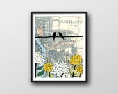 Portland Map Print with Birds on Wire // 11x14 Art Print by Rachel Ann Austin makes Great Portland Gift