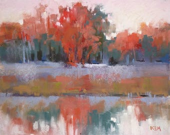 Contemporary Abstracted LandscapeMarsh with Reflections ART Original Pastel Painting 8x10