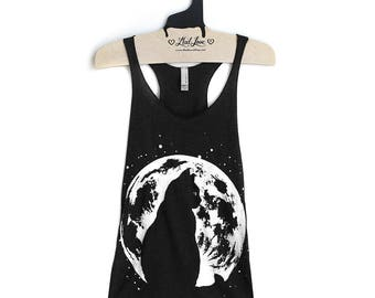 Small - Tri-Blend Black Racerback Tank with Cat Moon Screen Print