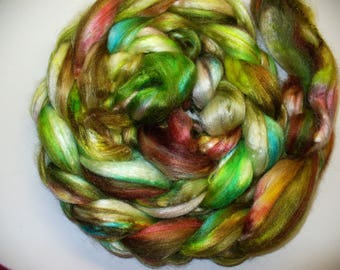 Silk Top Hand Dyed  for Hand Spinning Yarn or Blending Fibers
