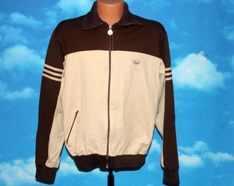 Adidas Brown Beige Warm Up Track Jacket Size 40 Vintage 1970s - 1980s