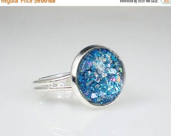 SUMMER SALE Aqua Blue Glitter Nail Polish Adjustable Ring Jewelry
