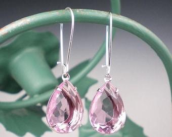 SUMMER SALE Pale Pink Rhinestone Drop Earrings Pink Wedding Bridesmaid Earrings Jewelry
