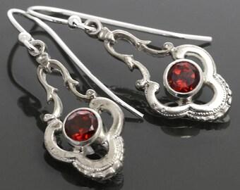 Genuine Garnet Earrings. Sterling Silver. January Birthstone. Dangle Earrings. f15e001