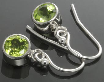 Peridot Dangle Earrings. Sterling Silver. Genuine Gemstone. August Birthstone. Tube Settings. 6mm Faceted Round. f14e005
