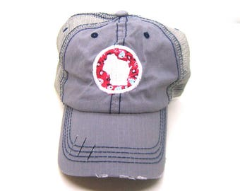 Clearance - Sale - Gift - Gracie Designs Hat - Red Floral and White Wisconsin Patch on Gray DIstressed Trucker