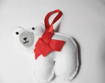 Felt Polar Bear Christmas Ornament