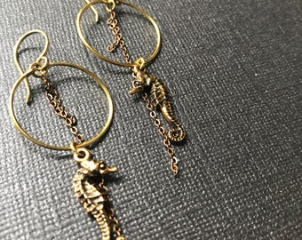 Gold Seahorse Hoop Earrings