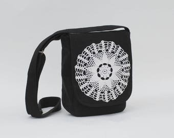 Small black linen messenger bag with doily