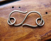 Antiqued Hammered Brass S Clasp - 32mm in length